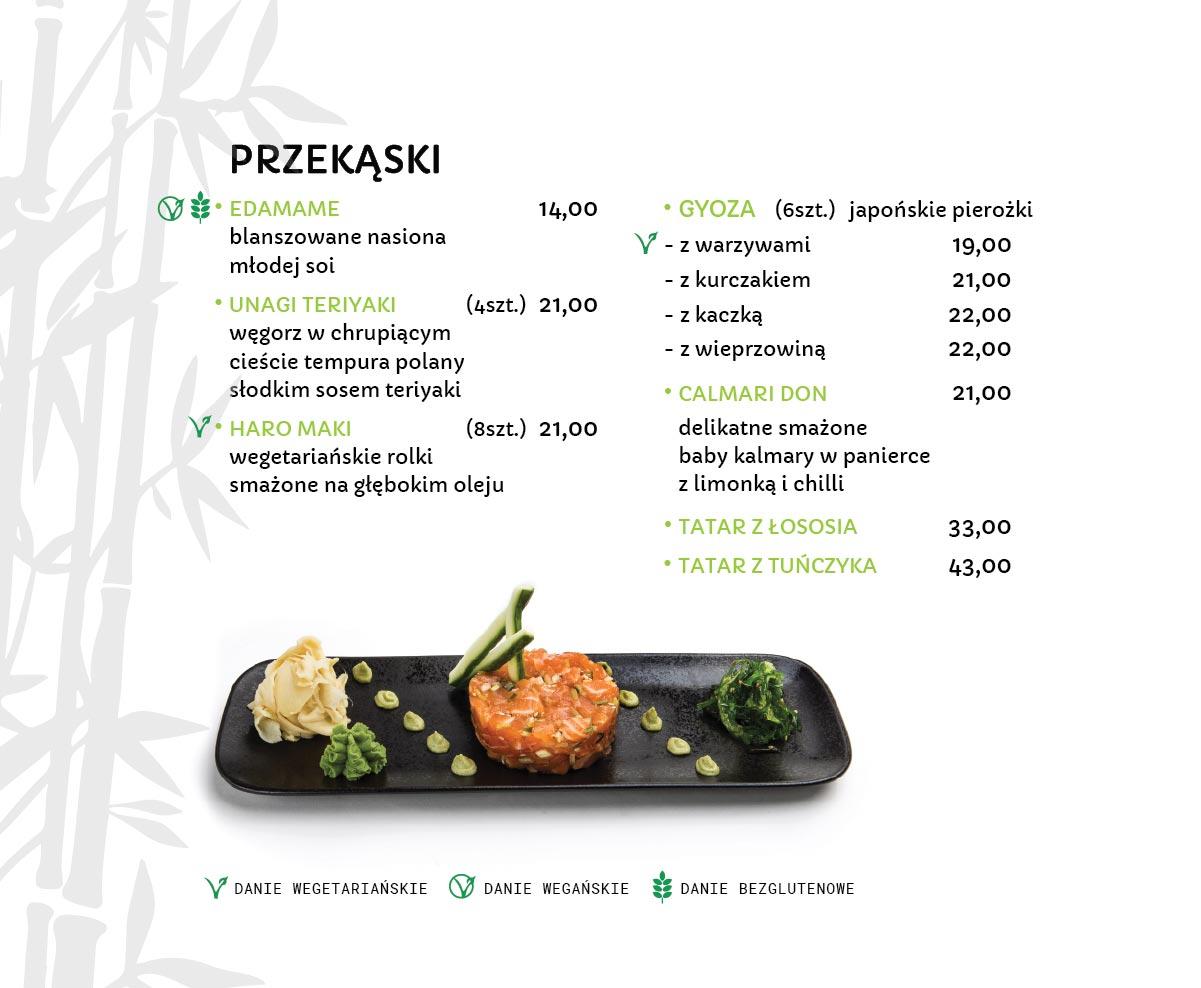 Przekąski Japońskie Restauracja japońska Miyako Sushi Kraków